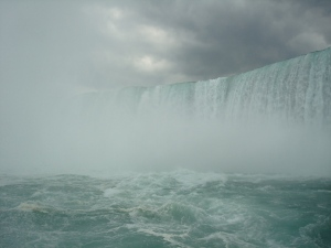 view of Niagara Falls from Maid of the Mist boat