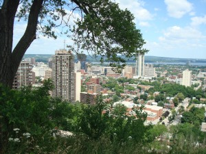 view of Hamilton and Lake Ontario from Sam Lawrence Park