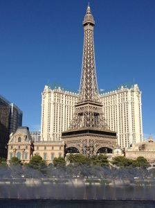 Bellagio's fountains with Paris Las Vegas in background