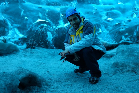 Saqib in an ice cave